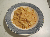 noodles and paprikash sauce